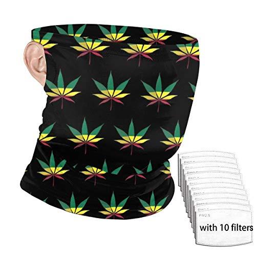 LouisBerry Gesichtsschal Jamaika-Flagge Weed Reggae1 Halstuch, Unisex, für den Außenbereich, Ohrenmontage, Windschutzscheibe, Bandana mit Filtern