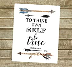 """To Thine Own Self Be True, William Shakespeare Quote Art Print, Watercolor Arrows Wall Art, Unframed 8""""x10"""" Art Poster, Be..."""