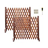 jxgzyy Freestanding Fence Gate 2 Pack Expandable Wood Trellis Retractable Partition Panels for Garden Patio Privacy Screen