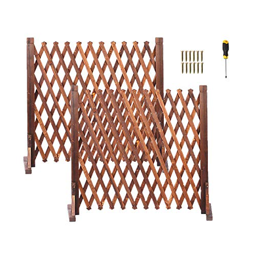 jxgzyy Freestanding Wooden Fence Gate 2 Pack Expandable Wood Trellis Retractable Partition Panels for Garden Patio Privacy Screen