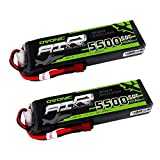 Ovonic 5500mAh 3S 11.1V 50C Lipo Battery with T Plug for DJI F450 Quadcopter Airplane Helicopter Car Truck Boat Hobby (2 Packs)
