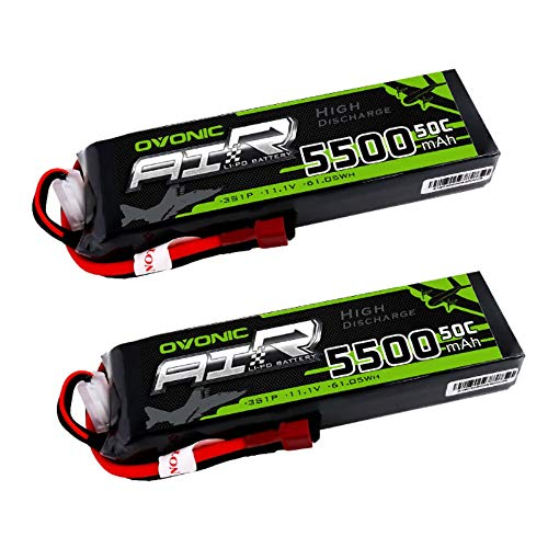Ovonic 5500mAh 3S 11.1V 50C Lipo Battery with T Plug for DJI F450 Quadcopter Airplane Helicopter Car Truck Boat Hobby and ARRMA Granite Sentonmega BIGROCK(2 Packs)