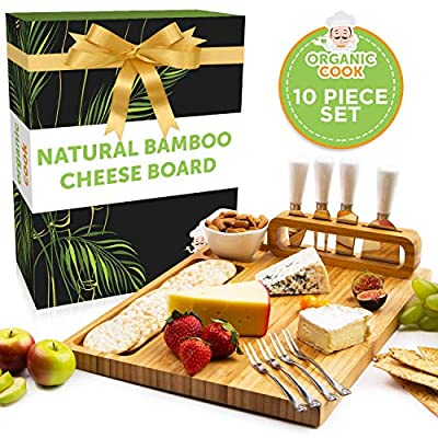 Bamboo Cheese Board and Knife Set, Charcuterie Board Set Large (14 x 11 inch) includes Ceramic Bowl, Serving Forks, Cheese Knives, Ideal Wedding Gift, Housewarming, Anniversary, Birthday (The Padrona) from Organic Cook