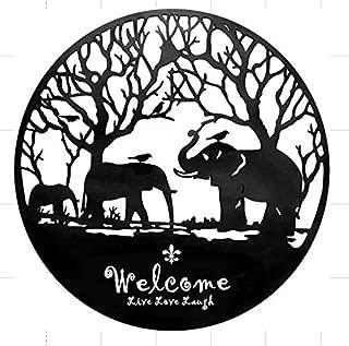 Bellaa 21901 Laser Cut Metal Wall Art Elephant Welcome Inspirational Sculpture 24 inch (Black 21901, Large)