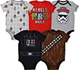 Star Wars Baby Boys 5 Pack Bodysuits Darth Vader Chewbacca Storm Trooper 0-3 Months