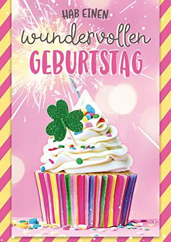 bentino Geburtstagskarte mit MUSIK und leuchtender WUNDERKERZE, DIN A5 Set mit Umschlag, Grußkarte spielt