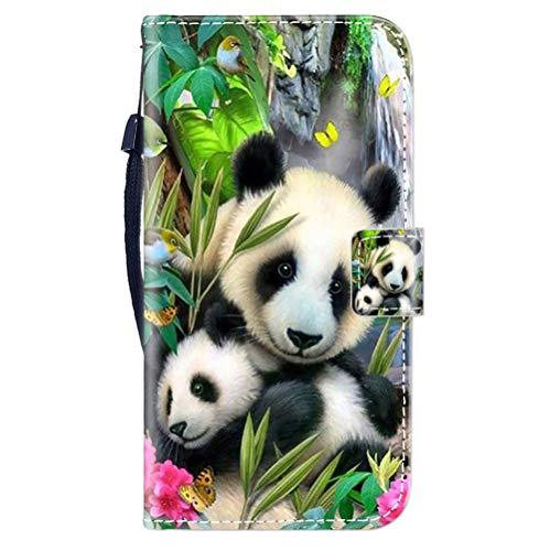 Sunrive Kompatibel mit Oppo F1 Plus/R9 Hülle,Magnetisch Schaltfläche Ledertasche Schutzhülle Etui Leder Hülle Handyhülle Tasche Schalen Lederhülle MEHRWEG(Wasserfall Panda B1)