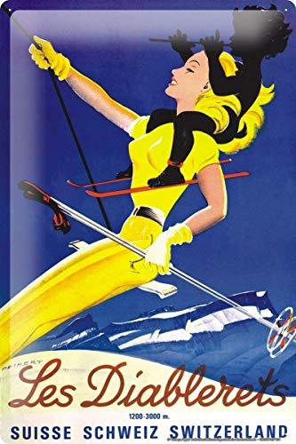 DGBELL World Tour Skiing Switzerland Alps Cartel de Chapa Retro Vintage Placa de Hierro Pintura Aviso de Advertencia Cartel Retro Cafe Bar película