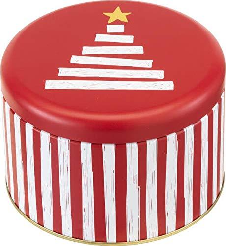 knusper.haus Kerstmis - gebakdoos/ronde doos Little Chistmas - Tree (rood - wit - goud / 10 x 15 cm) TOP KWALITEIT