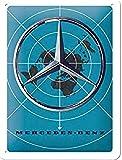 Nostalgic-Art Cartel de chapa retro Mercedes-Benz – Blue Map – Idea de regalo para los fans de los coches, metálico, Diseño vintage, 15 x 20 cm
