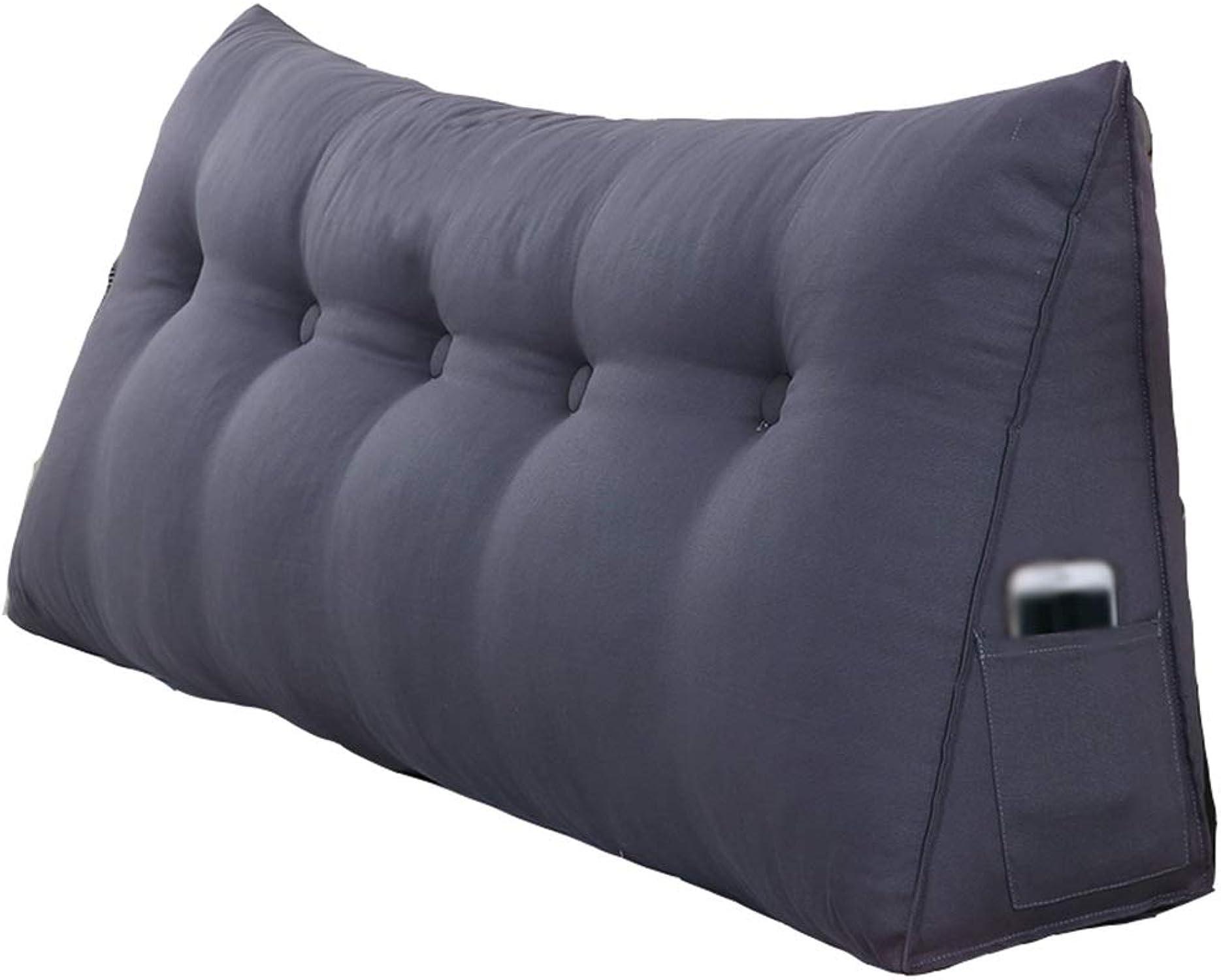 DNSJB oreillers Triangle lit Double avec Coussin Amovible, lit canapé Bureau Maison Peut être utilisé pour la Taille Dos Oreiller de Lecture, gris Noir (Taille   100  50  20cm)