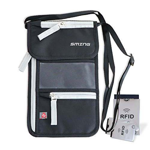SMING Titolare del passaporto del collo sacchetto di corsa con RFID Blocking- Compact collo Portafoglio