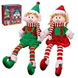 Yecence Christmas Elves 24' Decorations Dolls Big Plush Figurines Packed in Color Box Soft Stuffed Holiday Ornaments Xmas Decor Adorable Gifts Boy and Girl Set of 2