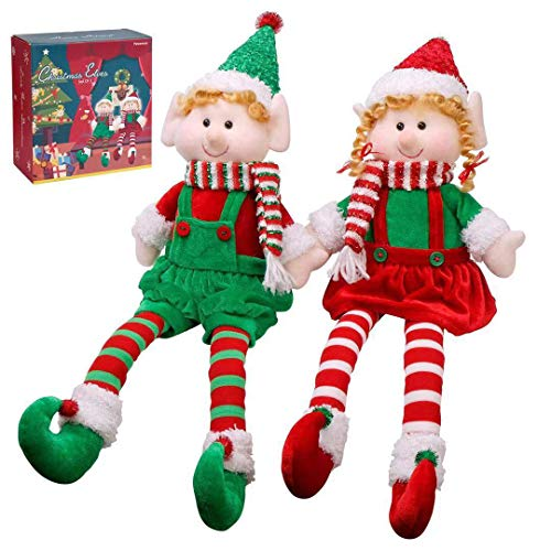 "Yecence Christmas Elves Decorations Dolls Big Plush Figurines Packed in Color Box 24"" Soft Stuffed Holiday Ornaments Xmas Decor Adorable Gifts Boy and Girl Set of 2"