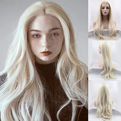 66 cm Perruque cheveux synthétiques longs ondulés naturels #613 Blond raie au milieu pour femme