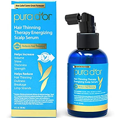 PURA D'OR Hair Thinning Therapy Energizing Scalp Serum Revitalizer (4oz) with Argan Oil, Biotin, Caffeine, Stem Cell, Catalase & DHT Blockers, All Hair Types, Men & Women (Packaging may vary)