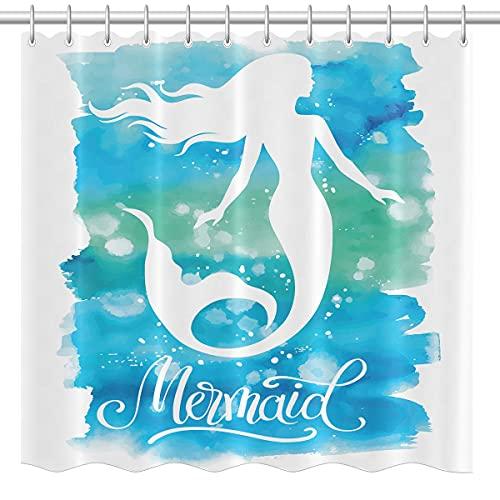 lovedomi Cortina de ducha de estilo de dibujos animados con diseño de acuarela, hermosa sirena mitología de mar profundo, cortina de ducha impermeable de tela de poliéster de 183 x 183 cm
