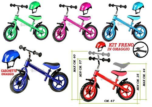 Bici Senza Pedali per Bambini Bicicletta Equilibrio con Freno E Casco (Rosa)