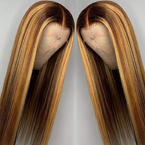 Brennas Hair Ombre Highlight Human Hair Wig Brown Honey Blonde Colored 13x4x1 T Part Lace Front Wigs for Black Women Brazilian Remy Straight Wig with Baby Hair 130% Density 20 Inch Pre Plucked
