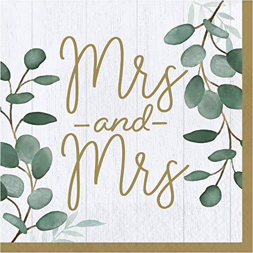Mrs & Mrs Bridal Wedding Theme Luncheon Napkins | Pack of 2 (16 count) Paper Lunch Napkins | MRS Eucalyptus Greens Design