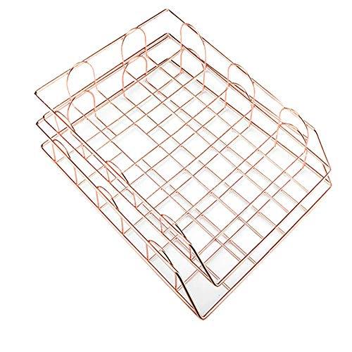 JIUZHI 2pcs Aufbewahrungskorb aus Metall, stapelbar, für Schreibtisch, Schreibtisch, Ablagefach, Aufbewahrung von Dokumenten (Roségold)