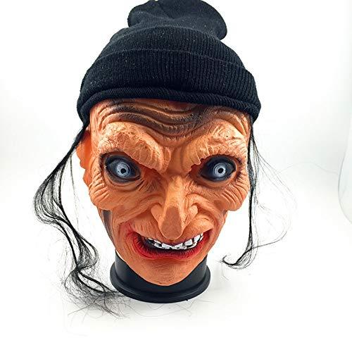 LZRDZSWCW Halloween-Hexe Kopfbedeckung Maske, der erste April Bar Haunted House Dress Up Props, Horror Geistermaske, Frauen Männer Scary Mask Karnevalsmaske, gruselig