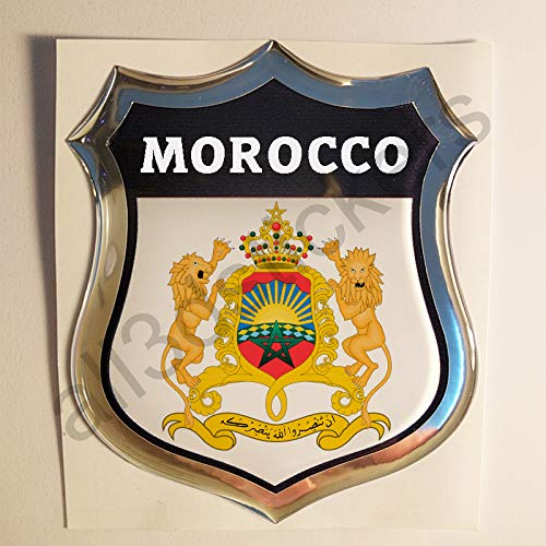 All3DStickers Aufkleber Marokko Wappen Kfz-Aufkleber Marokko Emblem Gedomt Flagge 3D Fahne