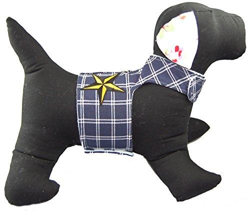 Twinkys Dog Style zacht servies M blauw wit geruit met ster patch halsomtrek 25 cm - 31 cm borstomvang 40 cm - 45 cm