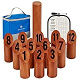 SpeedArmis Wooden Throwing Game, 12 Numbered Block Toss Games Set with Scoreboard & Carrying Case, Indoor Tailgating Bowling Yard Game for Kids Adults Family