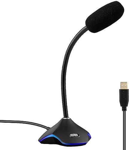 XIAOKOA USB PC Micrófono, Plug and Play Computadora Omnidireccional Ordenador portátil Micrófono,para Youtube/Skype/G...