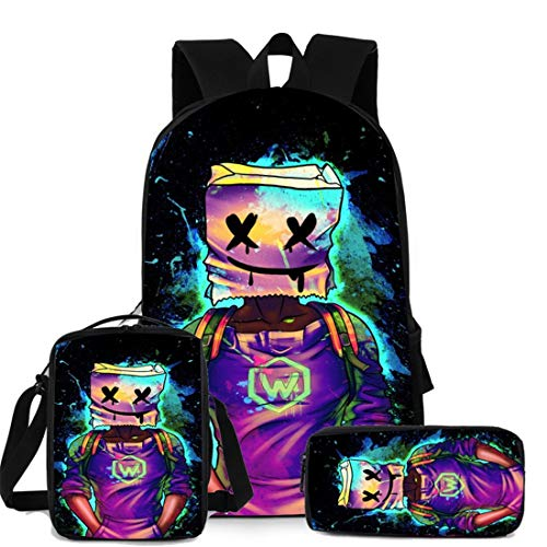 Marshmallow zaino scuola 3 pezzi per bambini astucci, borse a tracolla, borsa per musica DJ giovanile alla moda, pratica borsa per libri adatta per ragazzi e studenti, Colore 2, M,