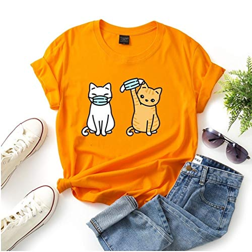 LXHcool Funny T-Shirt Cat Wearing a mask Coron_avirus I Survived Cov_id 19 T-Shirt Woman (Color : Orange, Size : XX-Large)