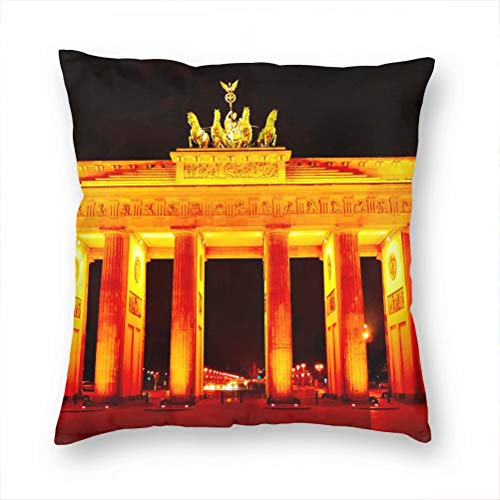 Germany Brandenburg Gate Berlin Pillow Case Decorative Cushion Cover Pillowcase Sofa Chair Bed Car Living Room Bedroom Office 18'x 18' KXR-2237