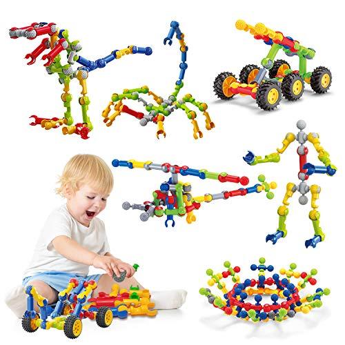 Caferria Kids Kit de construcción STEM Toys, 110 piezas de construcción educativa Ingeniería de construcción Bloques de aprendizaje DIY Set para edades de 3 a 10 años de edad, niños niñas, el mejor regalo para niños juegos creativos divertido juego