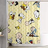 PKLUAS Creative Durable Waterproof Fabric Polyester Snoopy Shower Curtain Print Dekorative Badezimmer mit Haken 152,4 x 182,9 cm, Polyester, weiß, Einheitsgröße