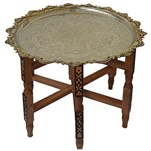 Marokkanischer Tisch Beistelltisch Teetisch orientalisch mit Silbertablett -mittel- Farbe Motiv 1