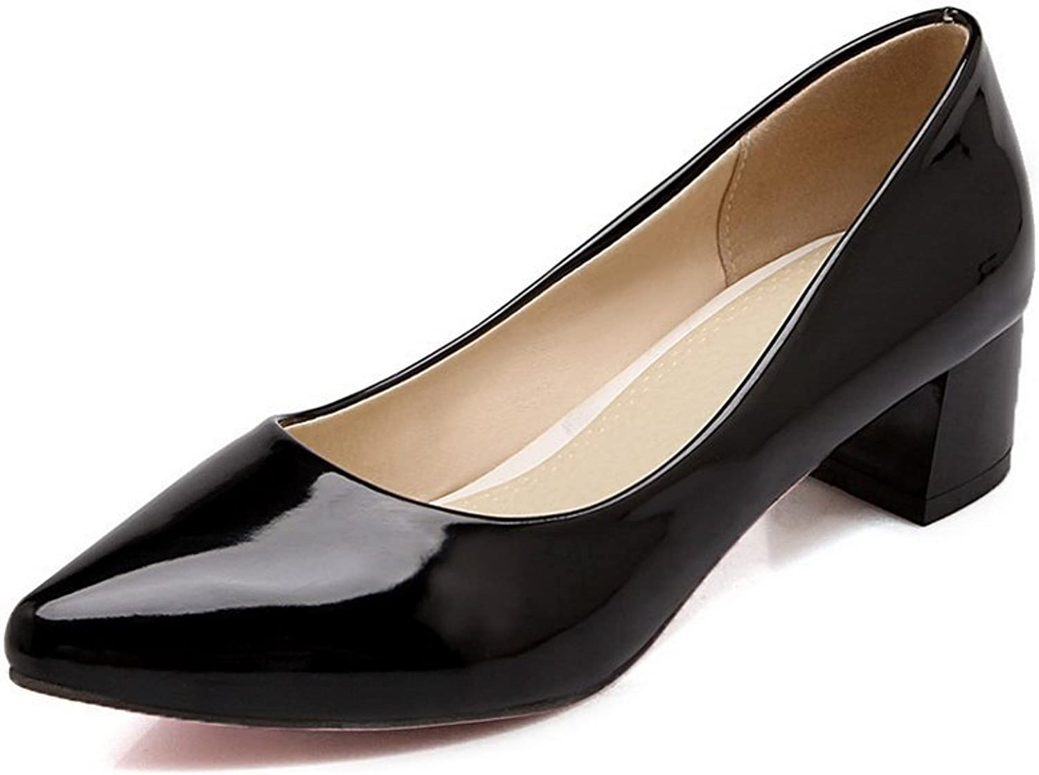 BalaMasa Ladies Chunky Heels Low-Cut Uppers Winkle Pinker Patent Leather Pumps-shoes