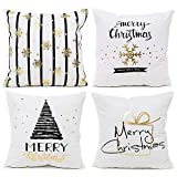 IWILCS 4 Stück Weihnachten Kissenbezüge, Kopfkissenbezug mit Heißprägung, Goldprägung Muster...