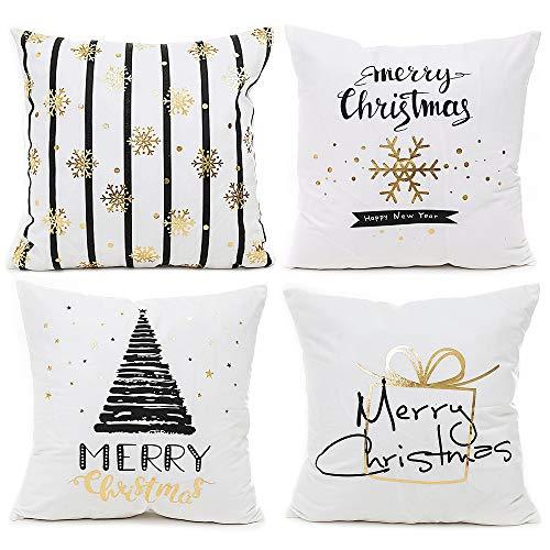 IWILCS 4 Stück Weihnachten Kissenbezüge, Kopfkissenbezug mit Heißprägung, Goldprägung Muster Weihnachten Kissenbezüge, Zierkissenbezüge für Zuhause und Sofa, Schlafzimmer Dekoration, 45x45cm