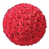 TOOGOO 8 Pouce (20cm) DéCorations De Mariage Rose Artificielle Soie Balle De Fleur Centrales Menthe DéCorative Suspension Boule Vin De Verre (Rouge)