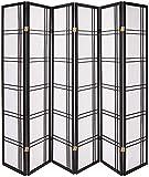 Oriental Furniture Biombo Divisor tipo Shoji Privacy de 1.82 mts, 6 Paneles, Color Negro