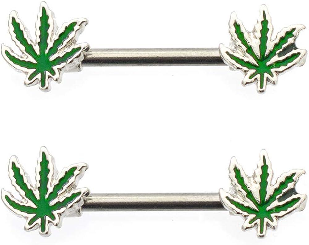 Luxe Modz Nipple Barbells 14G Marijuana Pot Leaf Weed Piercing Rings