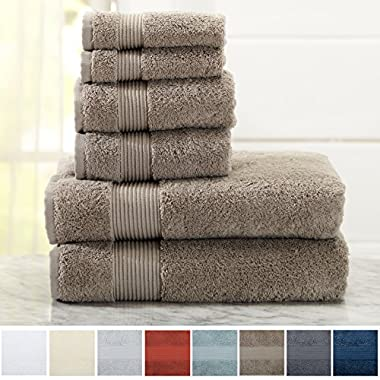 Great Bay Home 6-Piece Luxury Hotel/Spa 100% Turkish Cotton Towel Set, 600 GSM. Includes Bath Towels, Hand Towels and Washcloths. Melanie Collection By Brand. (Marble Tan)