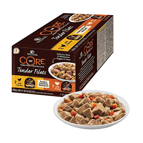 Wellness CORE Tender Filets, Hundefutter nass getreidefrei, hoher Fleischanteil, Geflügel Selection Mix, 4 x 170 g Schalen