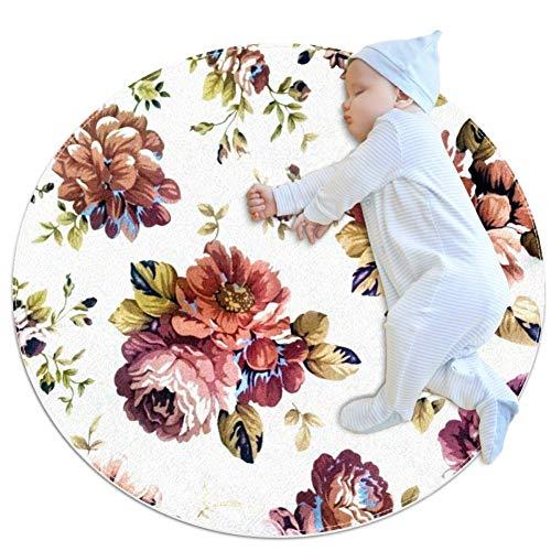 Mooie Bloemen Grote baby tapijt, kleuterschool kinderen ronde warme zachte mat vloerbedekking, antislip kinderen Peuter slaapkamer