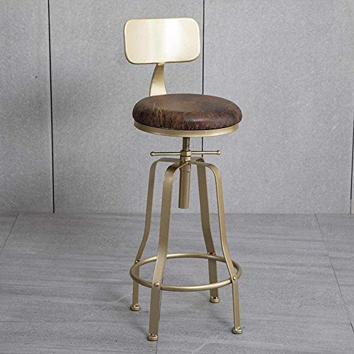 DJXYY Bar Stools Counter Height Modern Bar Chair for Kitchen Pub Bar Bistro Stool for Family Front Desk Coffee Shop Faux Leather Seat Gold Metal Legs - Gray/Pink/Green/Blue-Gray