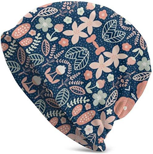 angwenkuanku Summer Floral Navy Peach Valentine Lustiges Upgrade Hip-Adult Knit Beanie Warm gestrickt Ski Skull Cap Beanie Cap One Size für Männer Frauen Hüte, Weihnachtsmütze