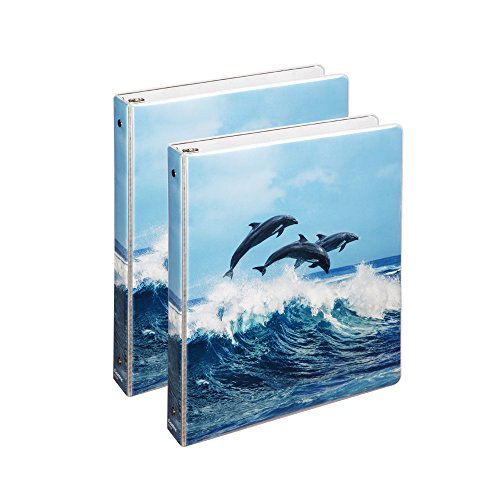 COMIX 2 Pack Binders Letter Size, Heavy Duty Premium Designer 3 Round Ring Binder 1 Inch Back to School/Campus (A2134) (Air Dolphins)