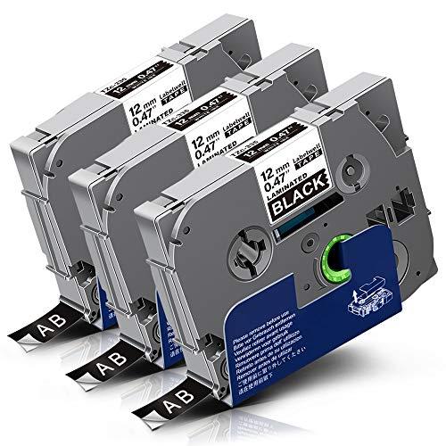 3x Labelwell 12mm Tzc-335 Bianco su Nero Tape Compatibile per Brother Tz Tze-335 Tze335 Etichette con Brother P-Touch Cube PT-P300BT PT-1000 1005 1280 PT-H107B H100LB PT-H105 Embellish Etichettatrice
