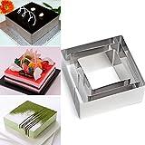 Emporte-pièces carrés, Plain Edge carré Coupe en dégradé Tailles en acier inoxydable Cookies Moule à Cake Circle Cut à mousse Moule DIY ustensile de cuisine 3pcs/lot, Silver, 6/8/10cm*4cm